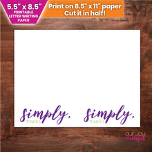 "Load image into Gallery viewer, Simply, Thanks | 5.5"" x 8.5"" Printable JW Letter Writing Paper-Letter Writing-Our Joy Designs"