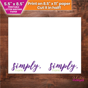 "Simply, Thanks | 5.5"" x 8.5"" Printable JW Letter Writing Paper-Letter Writing-Our Joy Designs"