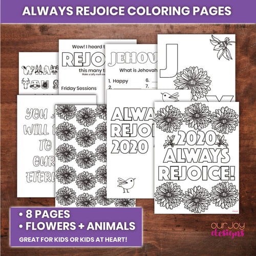 Always Rejoice Coloring and Activity Pages | 8 Pages, 8.5 x 11 | For Kids, Kids at Heart | JW Printable Coloring Book-Games-Our Joy Designs