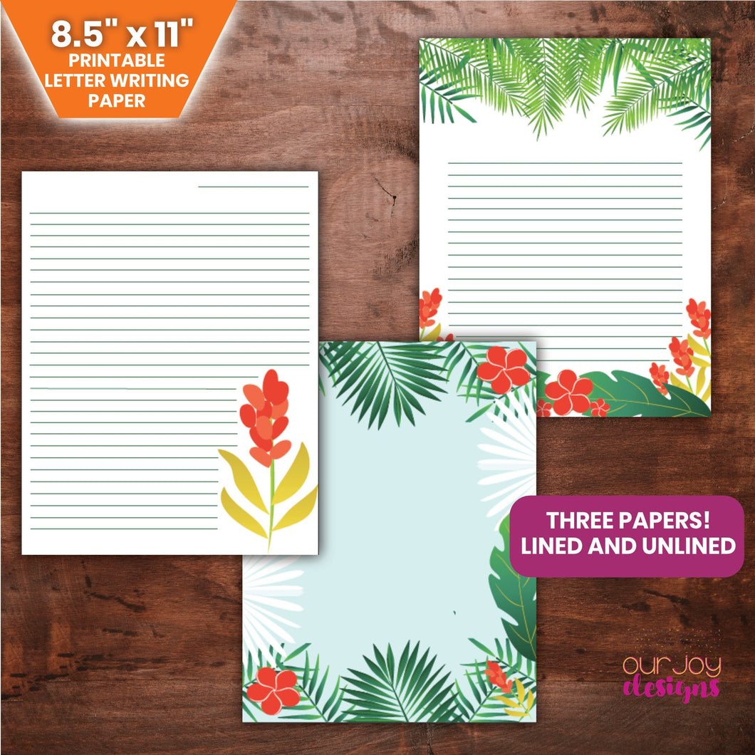 Tropical Paradise Letter Writing Paper | Set of 3, 8.5