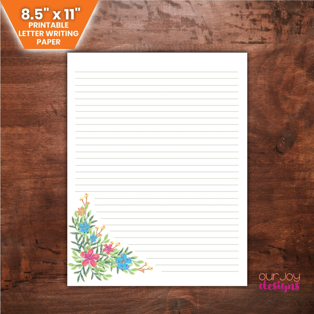 Wildflowers Lined JW Letter Writing Paper | 8.5