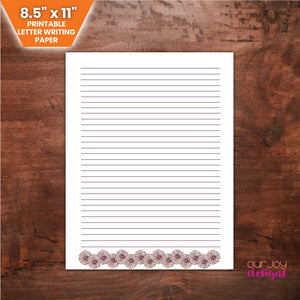 Daisies JW Letter Writing Paper, 8.5 x 11 "
