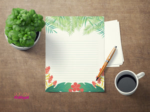 "Tropical Paradise Letter Writing Paper | Set of 3, 8.5"" x 11"" Printable 
