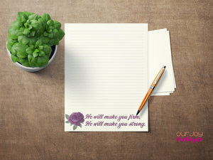 "He Will Make You Strong Purple Flower 8.5 x 11"" JW Letter Writing Paper-Letter Writing-Our Joy Designs"