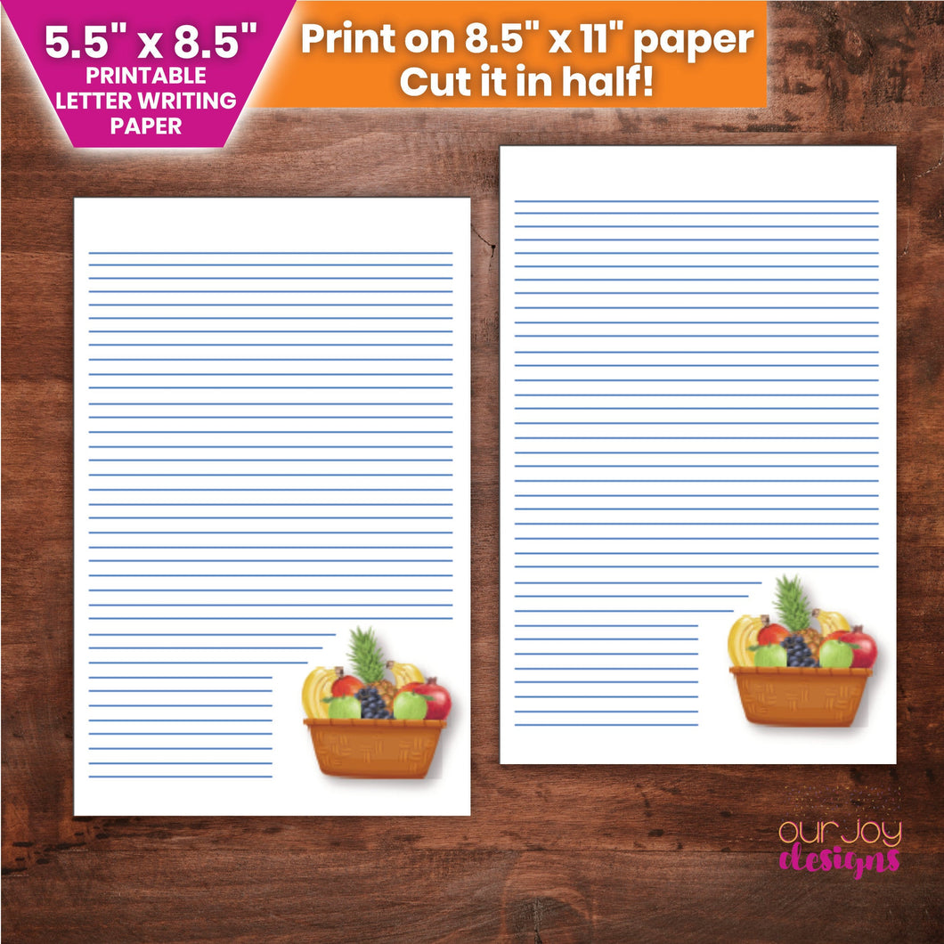 Fruitage Half Letter Printable Letter Writing Paper | 5.5 x 8.5
