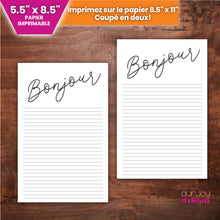 Load image into Gallery viewer, Bonjour en Français | 5,5 x 8,5 pouces Papier Imprimable-Letter Writing-Our Joy Designs