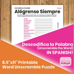Alégrense Siempre Descodifica las Palabras Rompecabezas | 8,5 x 11 | JW Spanish Word Game-Games-Our Joy Designs