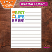 "Load image into Gallery viewer, The Best Life Ever JW Printable Letter Writing Paper | For Baptisms, New Assignments | 8.5x11""-Letter Writing-Our Joy Designs"