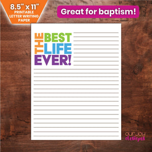 "The Best Life Ever JW Printable Letter Writing Paper | For Baptisms, New Assignments | 8.5x11""-Letter Writing-Our Joy Designs"