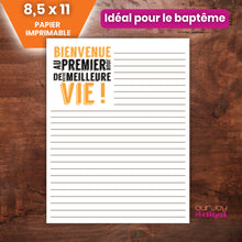 Load image into Gallery viewer, FRENCH Bienvenue au Meilleure Vie Papier Imprimable | Pour le Baptême| Témoins de Jehovah-Letter Writing-Our Joy Designs