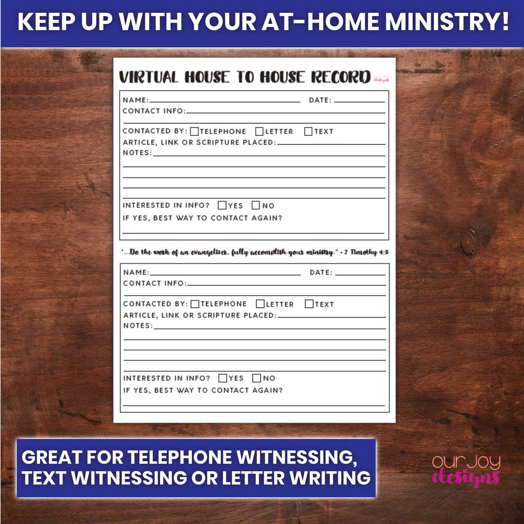 Virtual House to House Record for JW Telephone Witnessing, Letterwriting, Text Witnessing, Zoom Ministry-Printable-Our Joy Designs