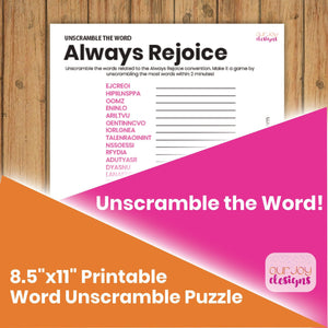 Always Rejoice Word Unscramble Printable Puzzle With Answers | 8.5 x 11"