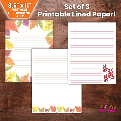 Printable Fall Leaves Letter Writing Paper | Set of 3, 8.5 x 11