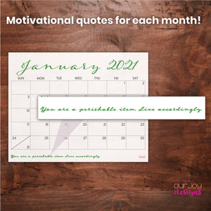 16-Month Printable Calendar, 2020-2021 | 11 x 8.5"