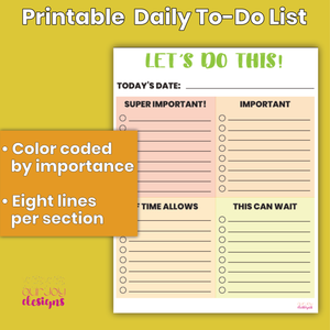 "Printable Daily To-Do List, Chore List | 8.5 x 11"", Color Coded by Importance 