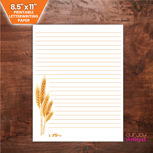 Harvested Wheat Printable Lined Letterwriting Paper | 8.5x11