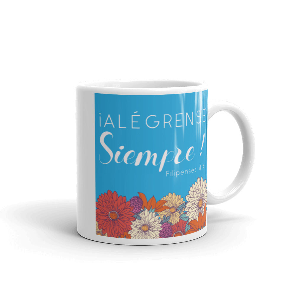 Alégrense Siempre Blue and Red Floral Mug-JW Gifts-Our Joy Designs