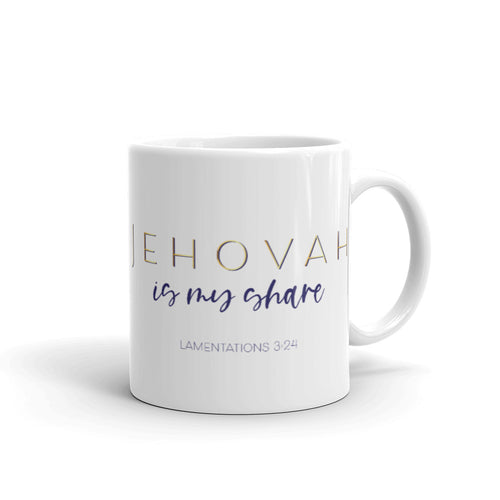 Jehovah is My Share Navy & Gold Mug-JW Gifts-Our Joy Designs