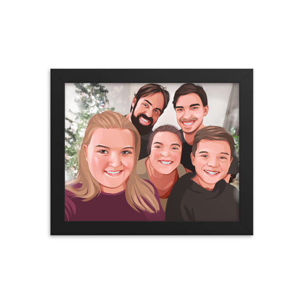Cartoon Style Horizontal Framed Portrait
