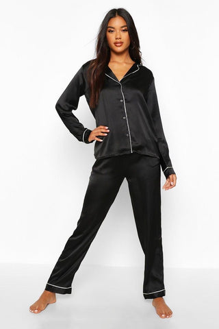 Black Long Sleeve Satin Pajamas (Pre-Order Only)