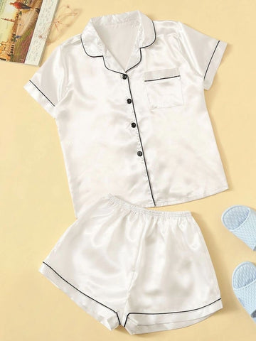 Short White Satin Pajamas (Pre-Order Only)