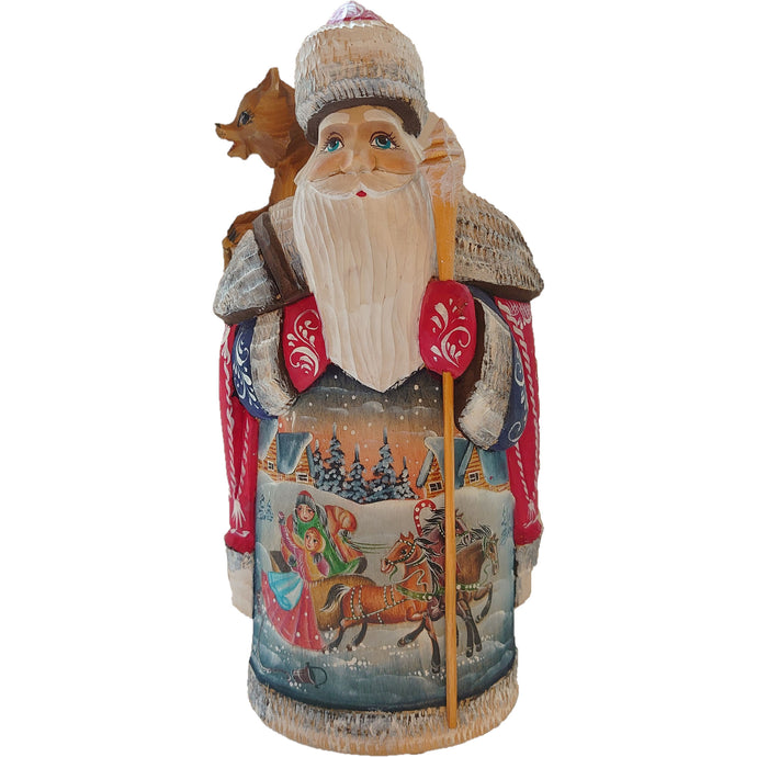 [Wooden Russian Painting Santa / Ded Moroz] Red santa with stick bear