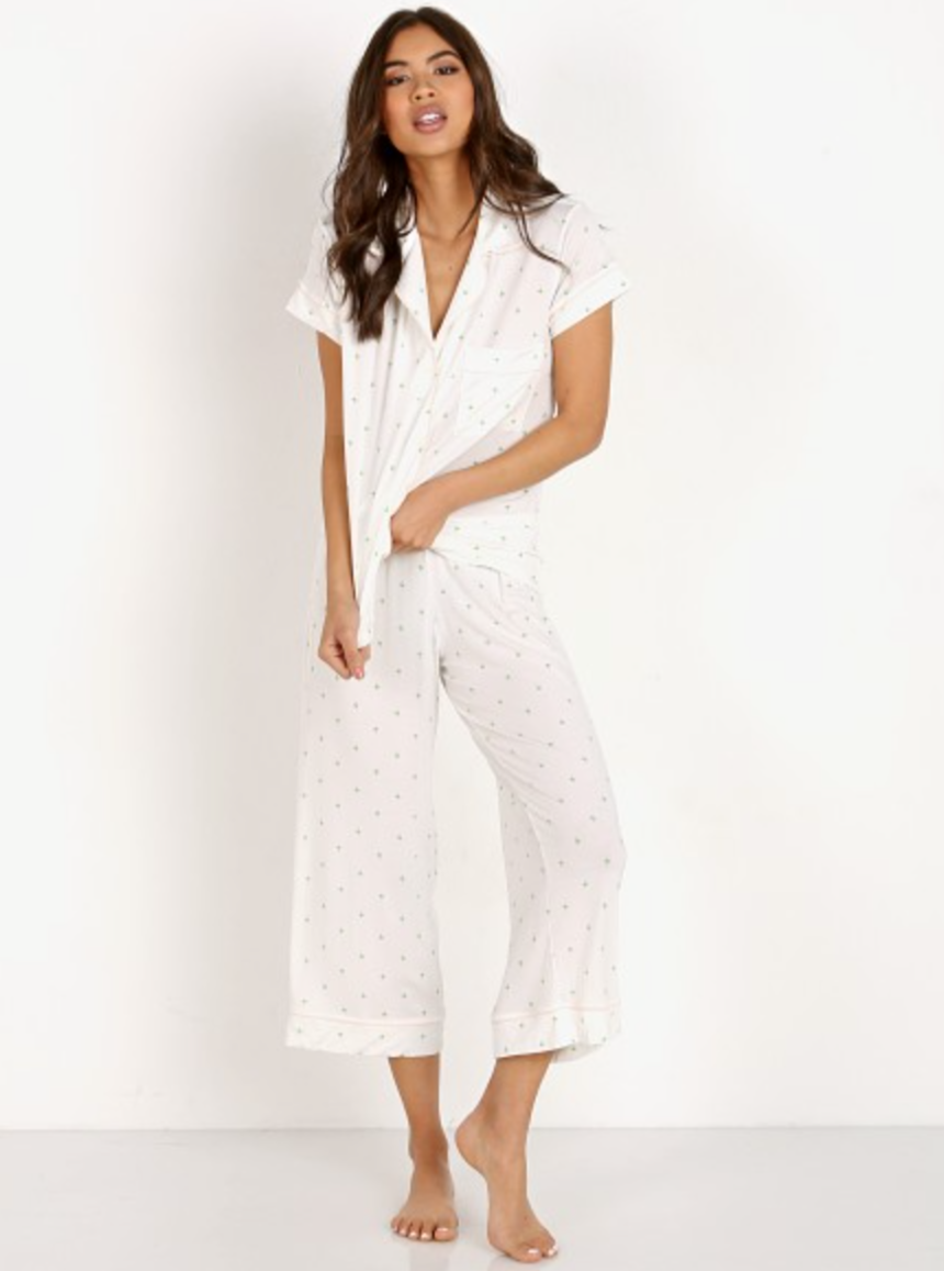 Giving Palm Short Sleeve Cropped PJ Set