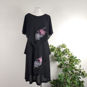 1980's Handkerchief Tiered Dress with Hibiscus Flowers