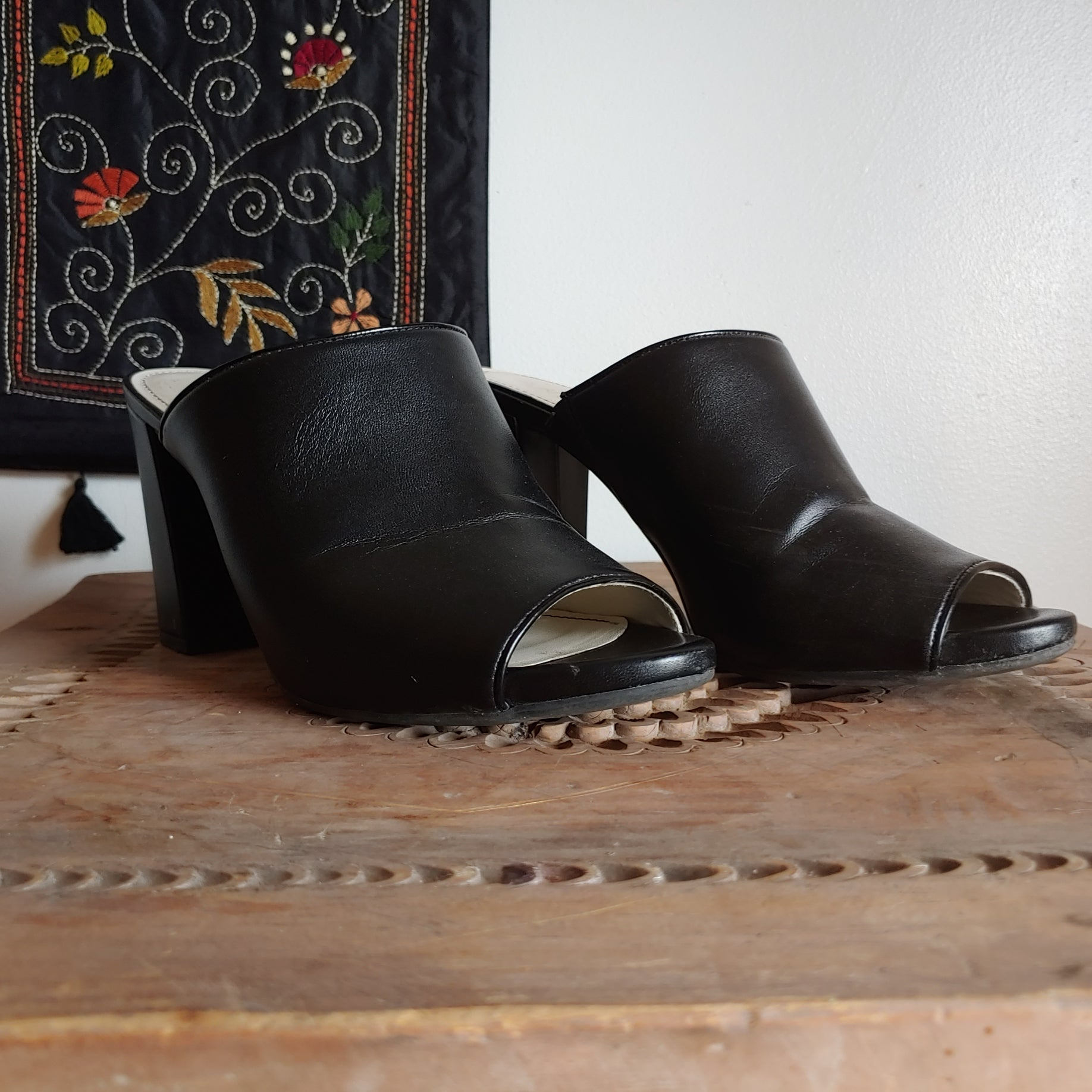 Anne Klein Black Leather Mules