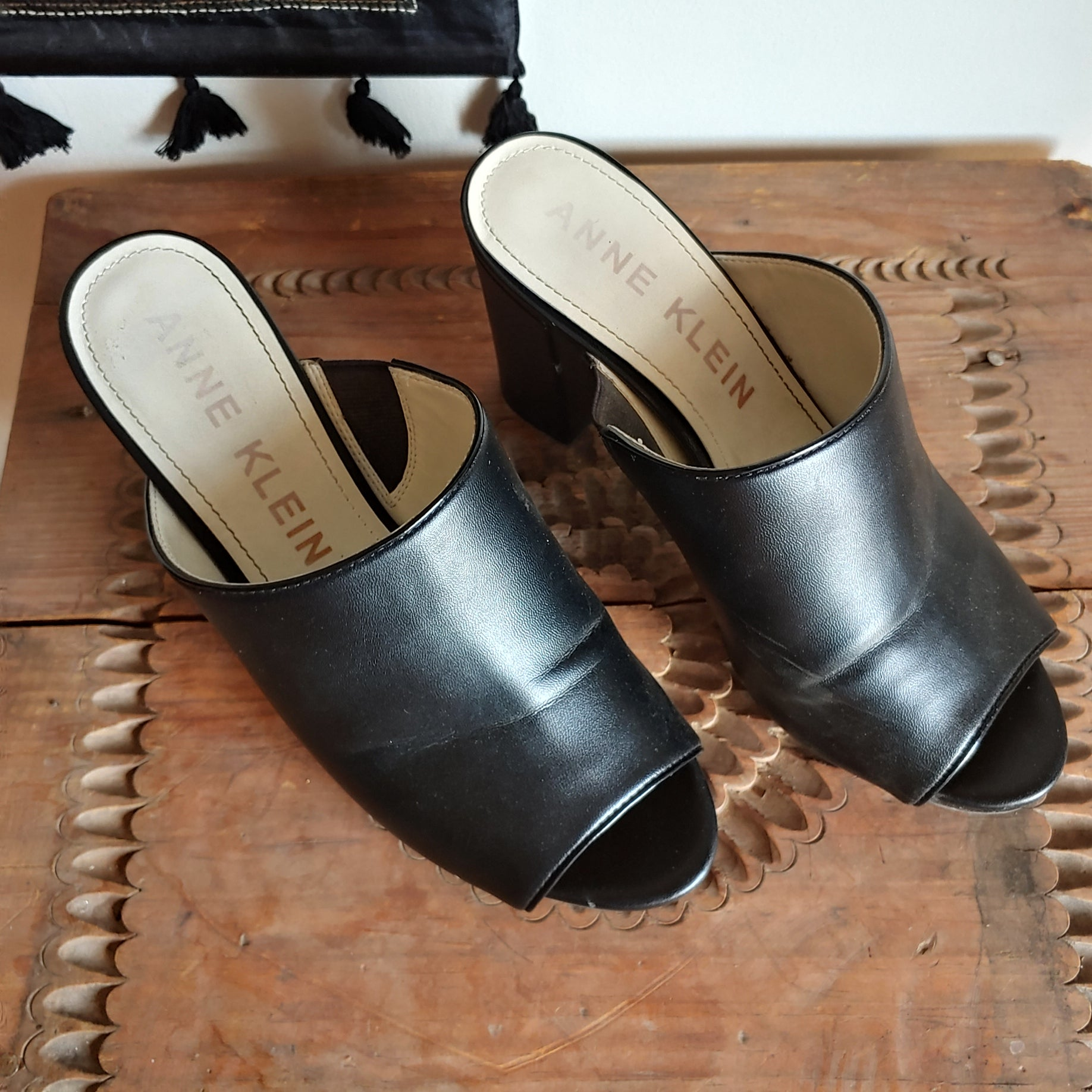 Anne Klein Black Leather Mule Heels