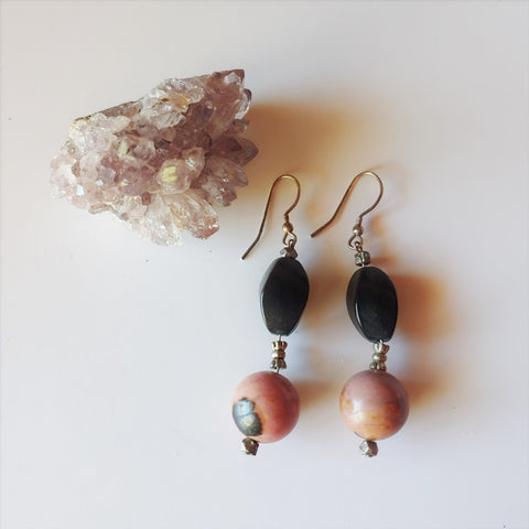 Rhodonite and Wood Bead Earrings