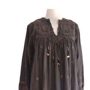 1970's Orient Exclusive Black Indian Gauze Dress with Gold Block Print