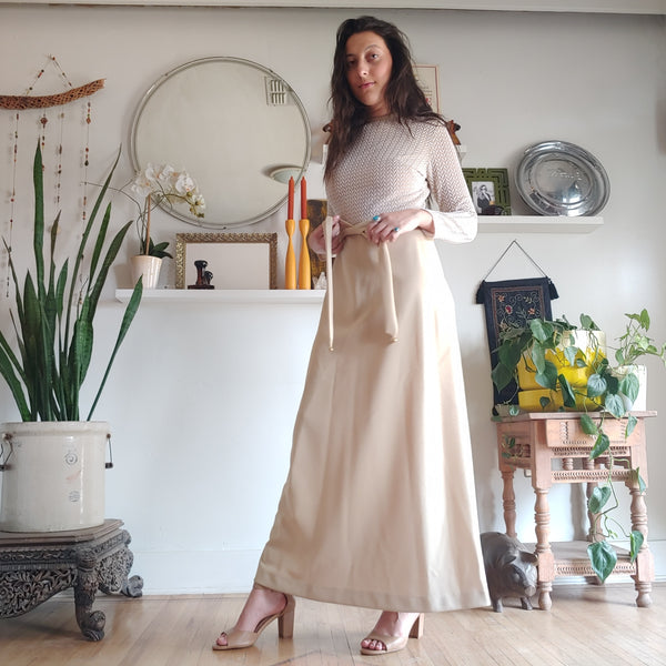 Vintage Lady Carol Gold Lurex and Tan Maxi Dress