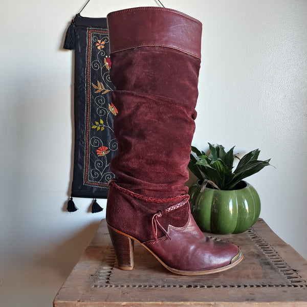 Vintage Zodiac Boots || Knee High Burgundy Boots