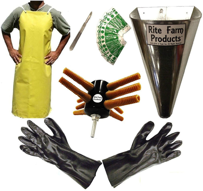 L10 plucker, kill cone, scalpel, 10 blades, gloves, apron