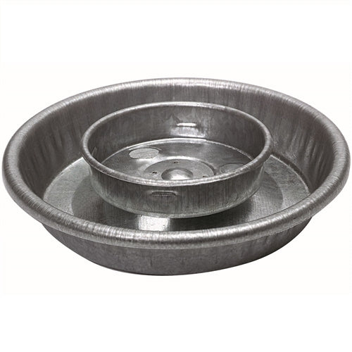 Galvanized steel waterer base for quart jars