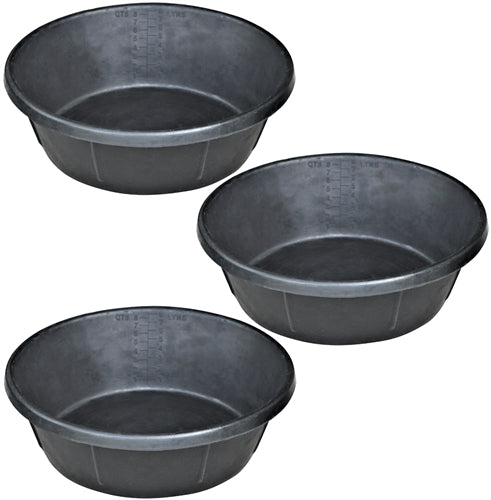 3 Pack Of 2 Gallon 8 Quart Rubber Feed Pan Livestock Pet Bowl Food