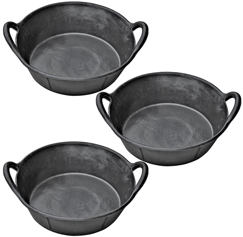 3 Pack Of 3 Gallon 12 Quart Rubber Feed Pans With Handles Livestock