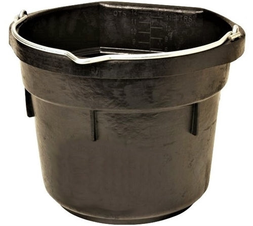 3 Gallon 12 Quart Flat Back Rubber Feed Bucket Livestock Pail