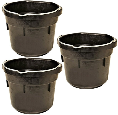 3 Pack Of 3 Gallon 12 Quart Flat Back Rubber Feed Buckets Livestock Pail