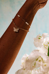 Glasswing Butterfly Armband - Goud