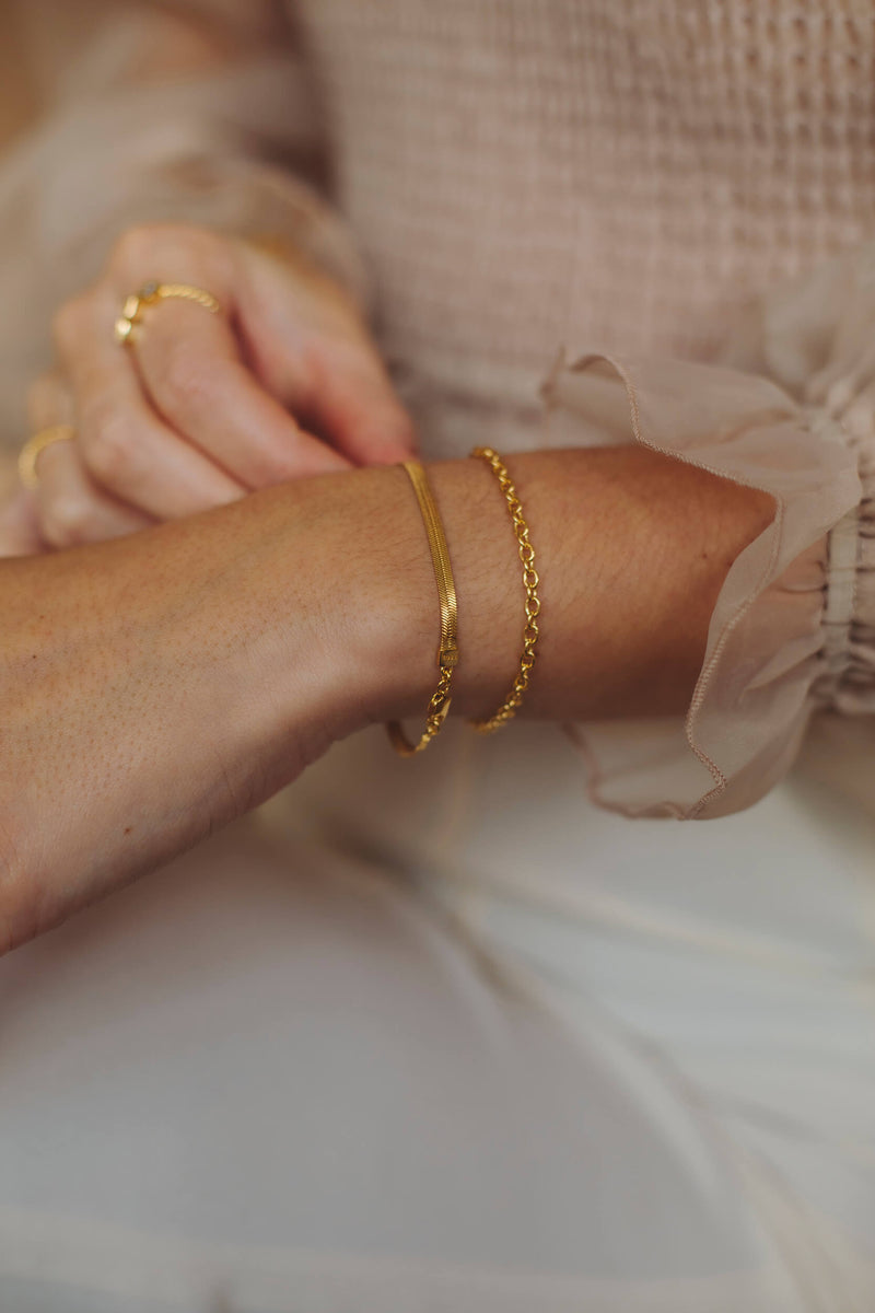 Cable Chain Armband - Goud