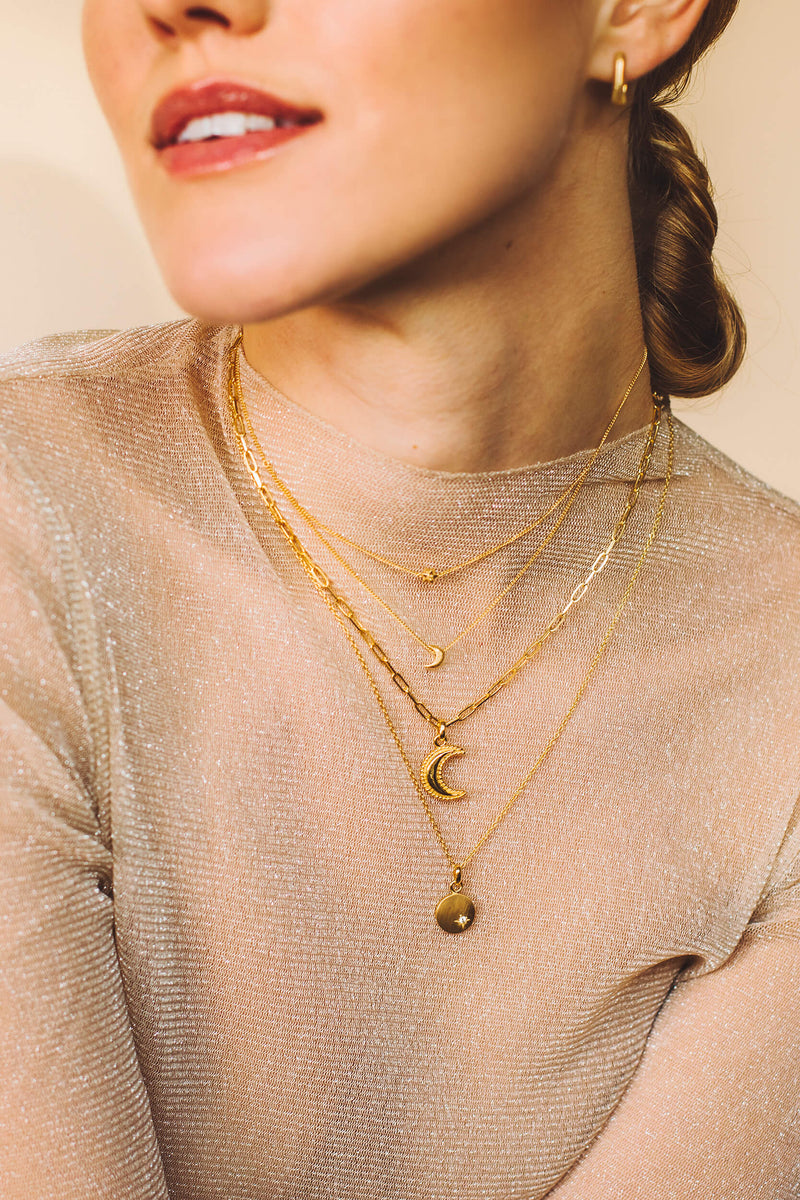 Crescent Moon Chunky Ketting - Zilver