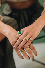 Malachite Signet Ring - Goud