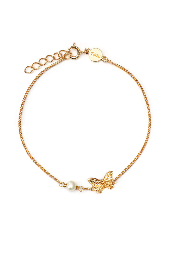 Minimal Chain Butterfly Armband - Goud