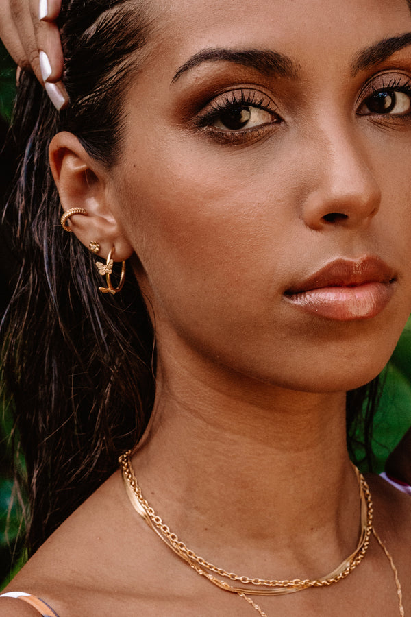 Butterfly Statement Hoops Oorbellen - Goud