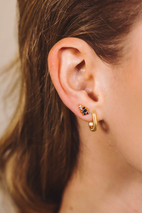 Mini Climber Studs Earrings - Gold