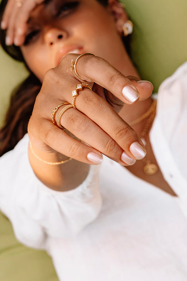 Bamboo Sticks Ring - Goud