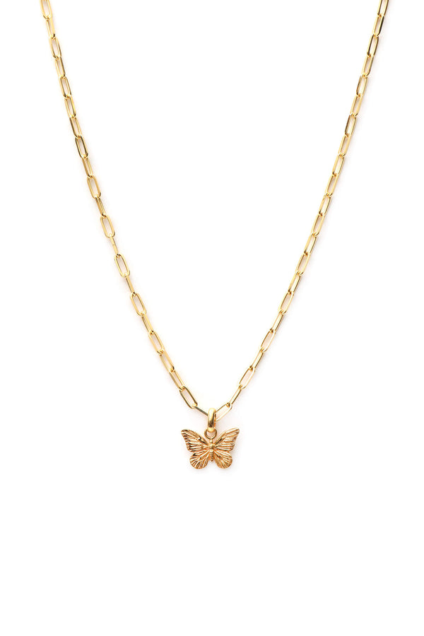 Butterfly Chunky Necklace - Gold