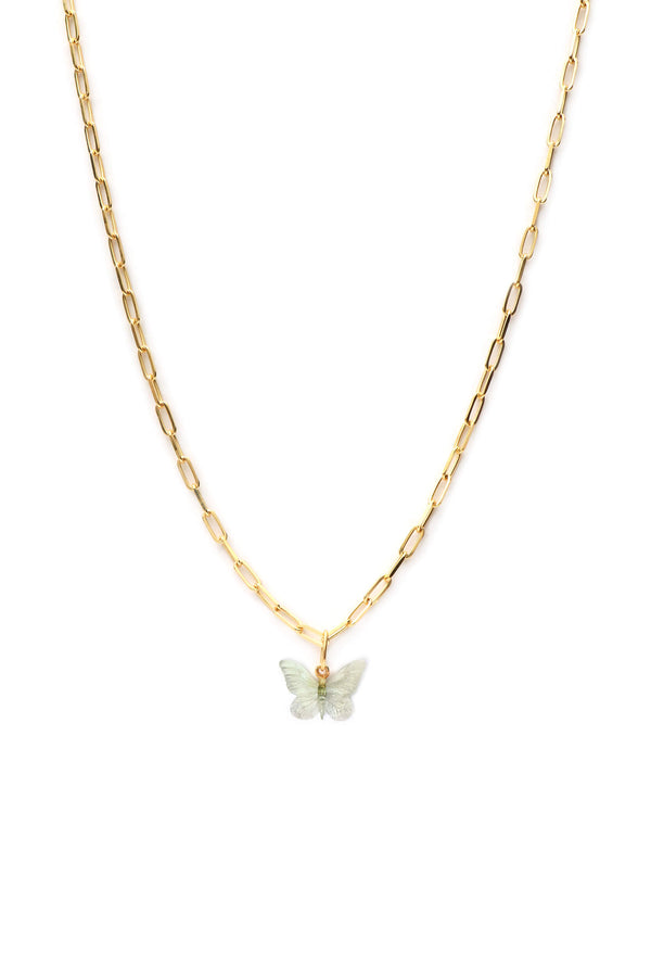 Glasswing Butterfly Chunky Necklace - Gold